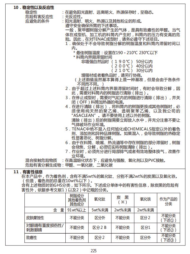 日本旭化成POM牌号、性能、MSDS证书